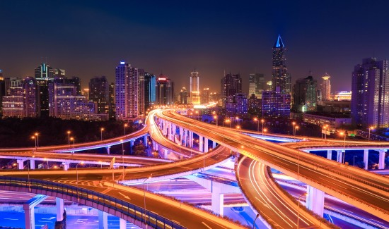 modern city traffic at night ,colorful interchange overpass  in shanghai